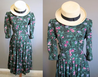 Tea Party Floral Dress Vintage Prairie Green English Country Medium