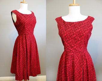 1950s Red Party Dress Vintage Holiday Floral Full Skirt XS