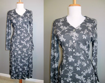 Floral Dress Vintage Midi Knit Grey 1990s Grunge Small