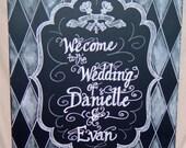 Chalkboard Art Sign- Wedding Chalkboard- Event Sign framed