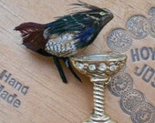 Vintage Feather Bird with Bird Bath - Brooch - Pin - Feathers and Gold Tone Metal - Rhinestones