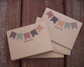 Kraft Bunting Banner Thank You Cards - Party Banners Pennant Flags, Bunting Banner Thank You Notes, Red Navy Aqua Blue Yellow Tan Card Set