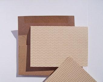 Chevron Note Cards - Kraft Stationery Set, White Kraft Natural Rustic Chevron Card Set, Kraft Paper Thank You Notes, Geometric Chevron Cards