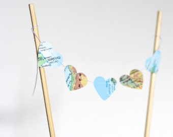 Vintage Map Mini Heart Cake Banner, bunting dessert topper