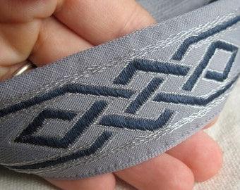 Celtic Dragon Knot Jacquard ribbon Navy and SIlver on Grey