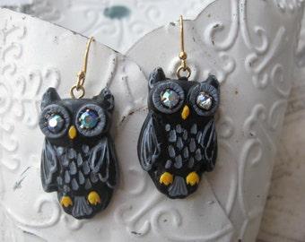193Os Halloween style Deco Owls. vintage rhinestone handmade polymer clay owl earrings