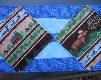 Table Runner, Northwoods, Moose, Bear, Loons, Made in Maine USA