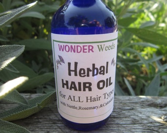 Herbal Hair & Scalp Conditioning Oil, Rosemary Hair Oil, Nettle, Chamomile, Horsetail, Oatstraw, Lavender