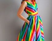 Romantic Handmade Cotton Chevron Rainbow Dress. Day Dress. Designer Dress. Alternative Wedding. Bridesmaid. Summer