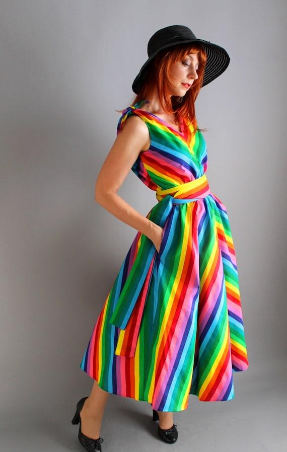 womens handmade rainbow pride cotton dress by gogovintage