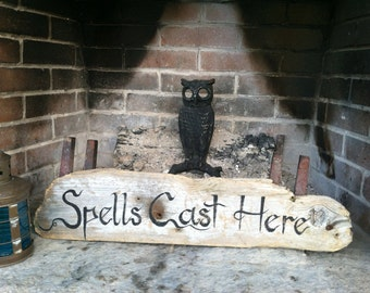 Hand Painted Driftwood Spells Cast Here Sign, Wall Home Decor,Home And Living, Garden Witch Sign