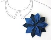 Felt Flower Brooch Pin - Navy Blue Flower - Midnight Star - Sapphire - READY TO SHIP