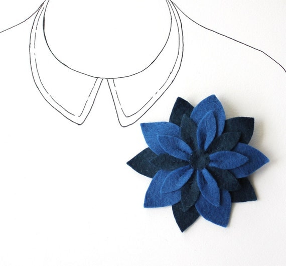 Felt Flower Brooch Pin - Navy Blue Flower - Midnight Star - Sapphire - READY TO SHIP