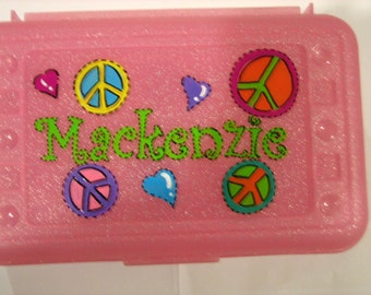 Personalized peace sign pencil case, art, crayon box- perfect kids party favor -monograms or full name