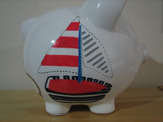 Items similar to personalized large nautical sailboat anchor piggy bank newborn ring bearer - Nautical piggy banks ...