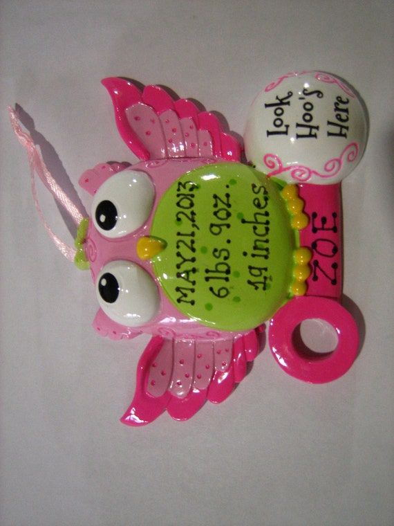 Christmas Ornaments For Baby Shower Favors : Personalized baby girl s first christmas owl ornament