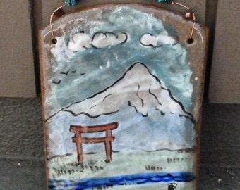 Mt Fuji Tile Painting / Hanging Art / Ceramic Decoration