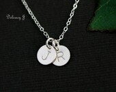 Tiny Silver Disc Necklace, Monogram personalized necklace, TWO initials necklace, Couple necklace, New baby Everyday necklace Christmas gift