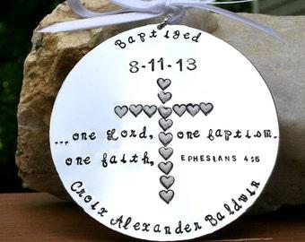 Baptism - Hand Stamped Hard Anondized Aluminum Ornament - Baptism Gift/Keepsake - Round LARGE -