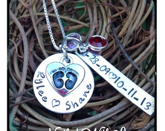 Personalized Hand Stamped Mother's footprints necklace