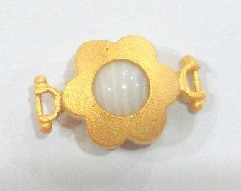 2 Pcs (14 mm)  Mother of Pearl  Connectors ,Gold Plated Brass Bezel  G1468
