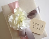 Custom Baby Album Brag Book - White Hydrangeas - Pink and Gray Ribbon - Personalized Hand Stamped Baby Name