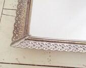 Filigree Vanity Tray Mirror  Vintage Goldtone Hollywood Regency
