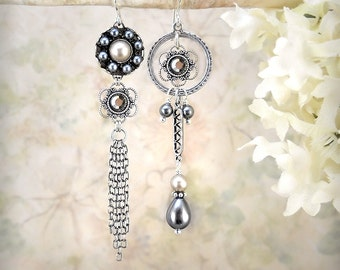 Grayflower - Handmade Gray Pearl Earrings Dainty Silver Earrings Boho Flower Earrings Winter Wedding Jewelry Romantic Delicate Silver Chain