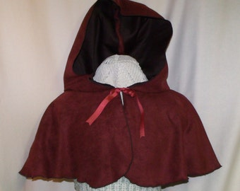 Brick Red Hooded Capelet- Suede Costume Cape