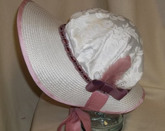 White and Mauve Poke Bonnet- Regency, Georgian, Jane Austen Era Bonnet