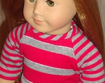 Dark Blue Skinny Jeans And Red & Gray Baseball Style Shirt For 18-Inch Dolls