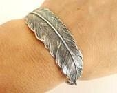 Steampunk Feather Bracelet- Sterling Silver Ox Finish