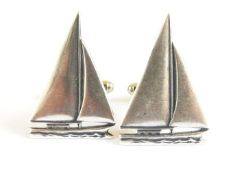 Sailboat Cuff Links- Sterling Silver Ox Finish- Gifts For Men- Large Sailboats