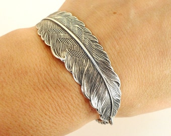 Steampunk Feather Bracelet- Sterling Silver Ox Finish