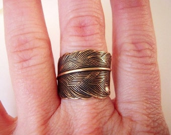 Steampunk Feather Ring- Antiqued Brass Ox Finish