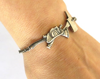 Firefighter Bracelet- Fireman Bracelet- Sterling Silver Ox Finish- Customizable
