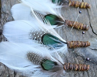 FREE SHIPPING Forest Indian Feather Boutonnieres