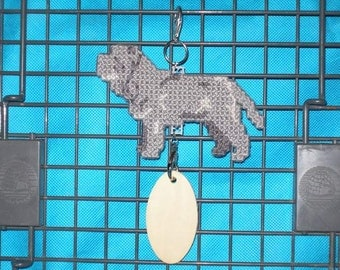 Neapolitan Mastiff dog crate tag or hang anywhere, Magnet Option, hand stitched original art by canine artisan