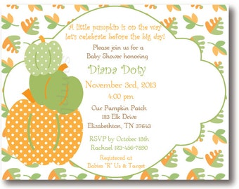 Baby Fall Pumpkin and Leaf, Baby Shower Set of 10 Invitations