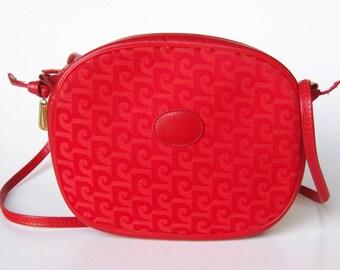 Vintage 80s Red Leather & Canvas Pierre Cardin Signature Logo Print Purse Handbag