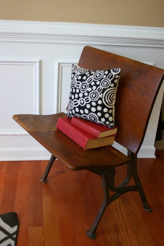 vintage school desk chair schoolhouse wood bench industrial. Black Bedroom Furniture Sets. Home Design Ideas