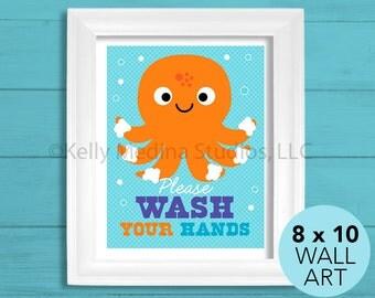 Wash Your Hands Octopus Bathroom Nursery Art Print, 8 x 10, Baby Children Wall Art Decor, Wash Your Hands Wall Art by Kelly Medina