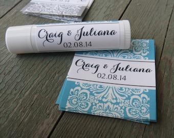 Wedding Damask - Lip Balm Labels - wedding, bridal shower, bachelorette party favor - waterproof sticker