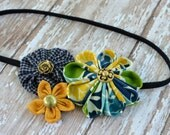 Pineapple Blueberry Fabric Flower Trio Headband