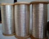 Wonderful Antique French Silver Thread Reel Luxurious Embroidery perfect for Home Decor Shimmer Accent &  Milliners Wedding