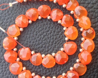 6 Matched Pairs,Brand New, CARNELIAN Faceted Heart Shaped Briolettes,8x8mm Long size,CALIBRATED Size,Matched Pairs.