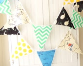 Banner, Bunting, Nautical Fabric Flags, Navy Blue Whale, Beach Kid, Yellow, Teal, Blue, Baby Nursery Decor, Neutral Baby Shower, Photo Prop