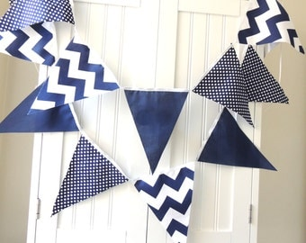 Bunting, Banner, Pennant Fabric Flags, Baby Shower Navy, White, Polka Dot, Chevron, Boy Nursery Decor, Birthday Party Banner, Photo Prop