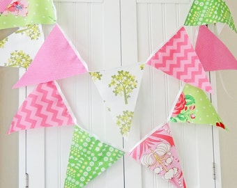 Fabric Banner, Bunting, Pennant Flags, Garland Pink, Green, Chevron, Photo Prop, Birthday Party, Girl Nursery Decor, Baby Shower Garland