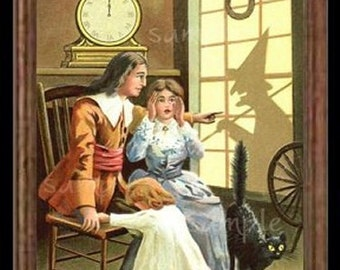 Halloween Family Miniature Dollhouse Victorian Art Picture 6510